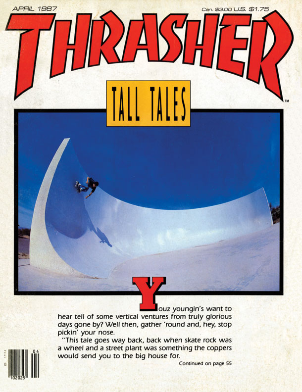 Brian Brannon - Backside kickturn. Photo by Bryce Kanights for Thrasher Magazine April 1987.
